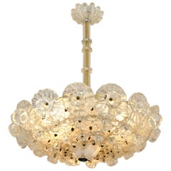 1950s Italian Barovier Murano Glass Flower Chandelier
