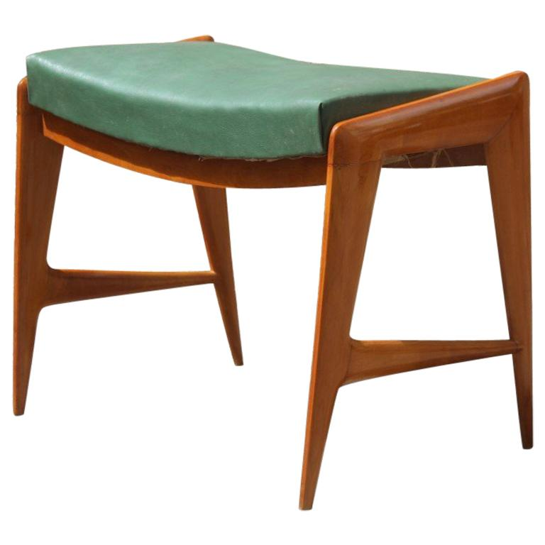 1950s Italian Bench in Maple and Minimalist Faux Leather Dassi Milano