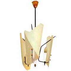 1950's Italian Bent Glass Shade Pendant Lantern