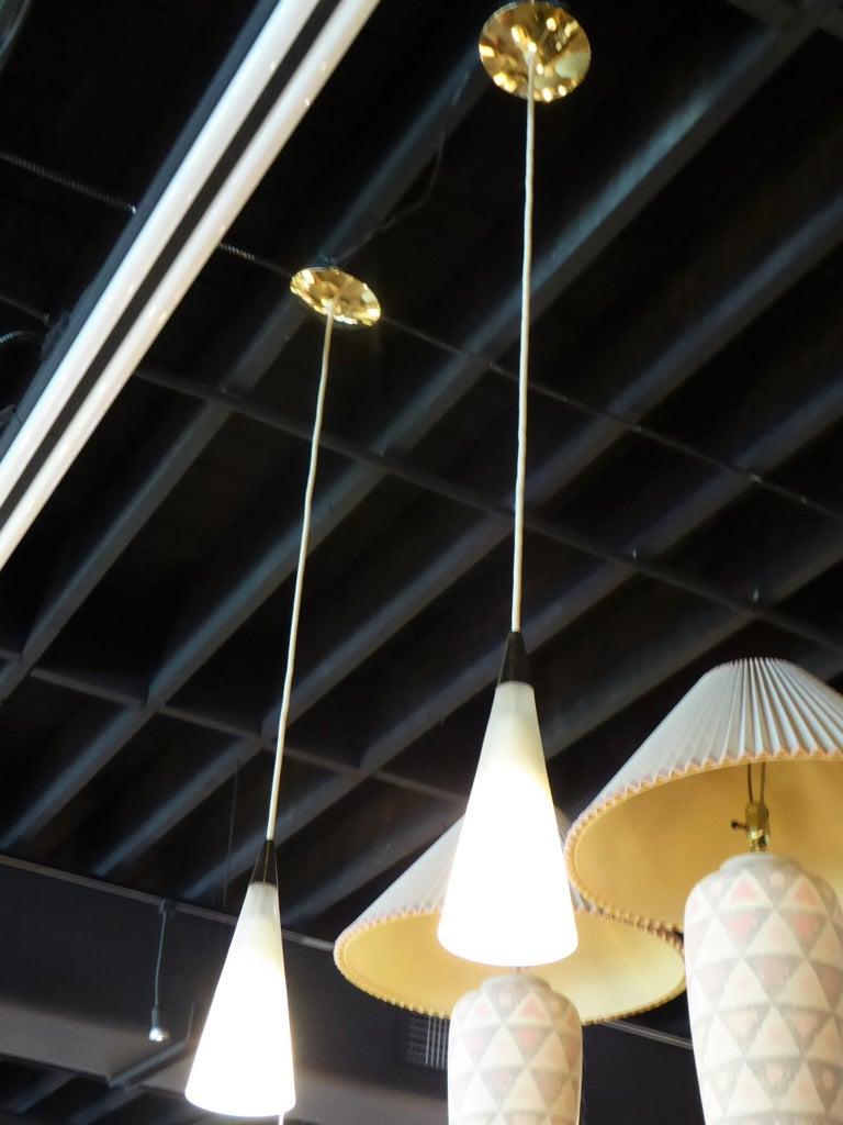 1950s Italian Blown Glass Double Cone Pendants For Sale 7