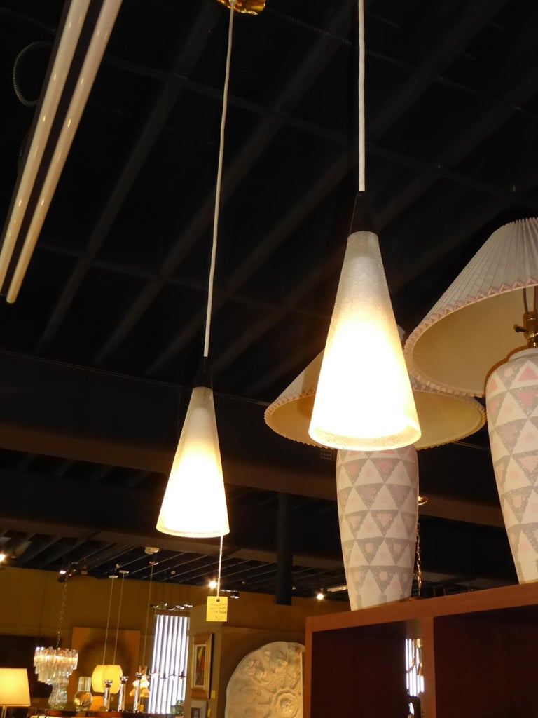 1950s Italian Blown Glass Double Cone Pendants For Sale 8