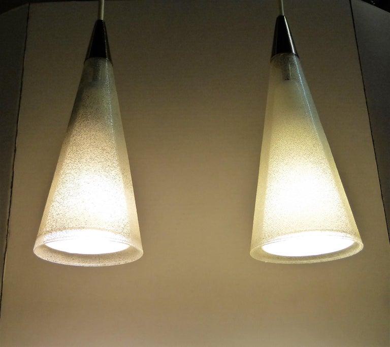 1950s Italian Blown Glass Double Cone Pendants In Excellent Condition For Sale In Miami, FL