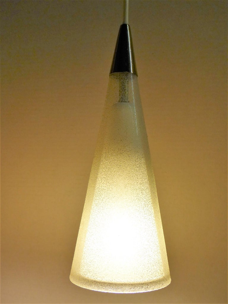 Mid-20th Century 1950s Italian Blown Glass Double Cone Pendants For Sale