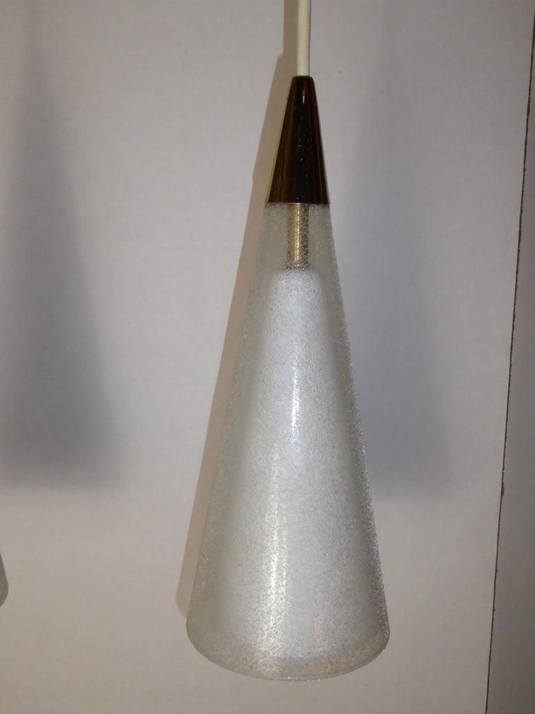 1950s Italian Blown Glass Double Cone Pendants For Sale 1
