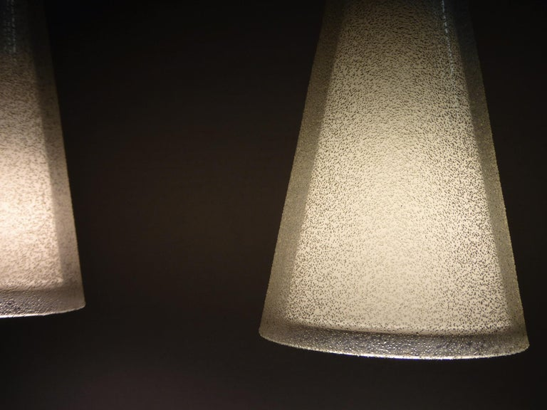 1950s Italian Blown Glass Double Cone Pendants For Sale 3