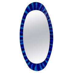1950s Italian Blue Enameled Copper Mirror by Siva Poggibonsi