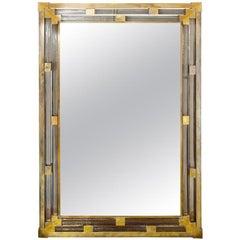 1950s Italian Brass and Glass Mirror