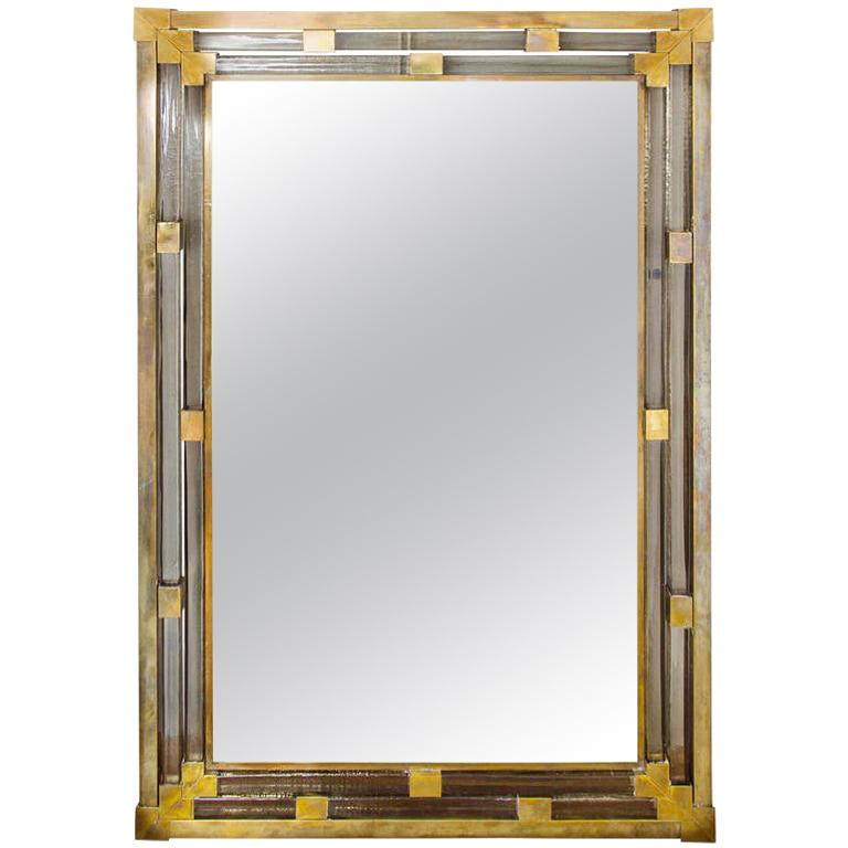 1950s Italian Brass and Glass Mirror For Sale