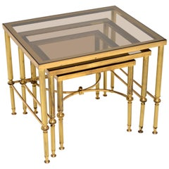 1950s Italian Brass and Glass Nest of Tables