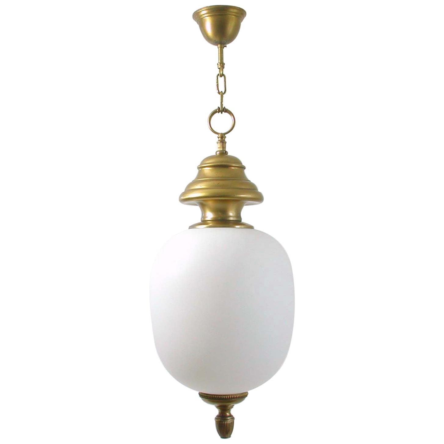 1950s Italian Brass and Satin Opaline Glass Pendant by Azucena