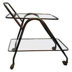 1950s Italian Brass and Wood Black Lacquered Trolley