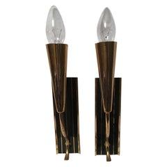 1950s Italian Brass Black Striped Sconces Very Art Deco Styling