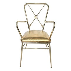 1950s Italian Brass Chiavari Armchair with Crossed Arrows Motif