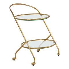 1950s Italian Brass Circular Bar Cart/Trolley