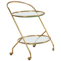 1950s Italian Brass Circular Bar Cart/Trolley