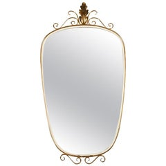 1950s Italian Brass Frame Oblong Mirror