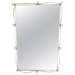 1950s Italian Brass Mirror in with Loop Detail