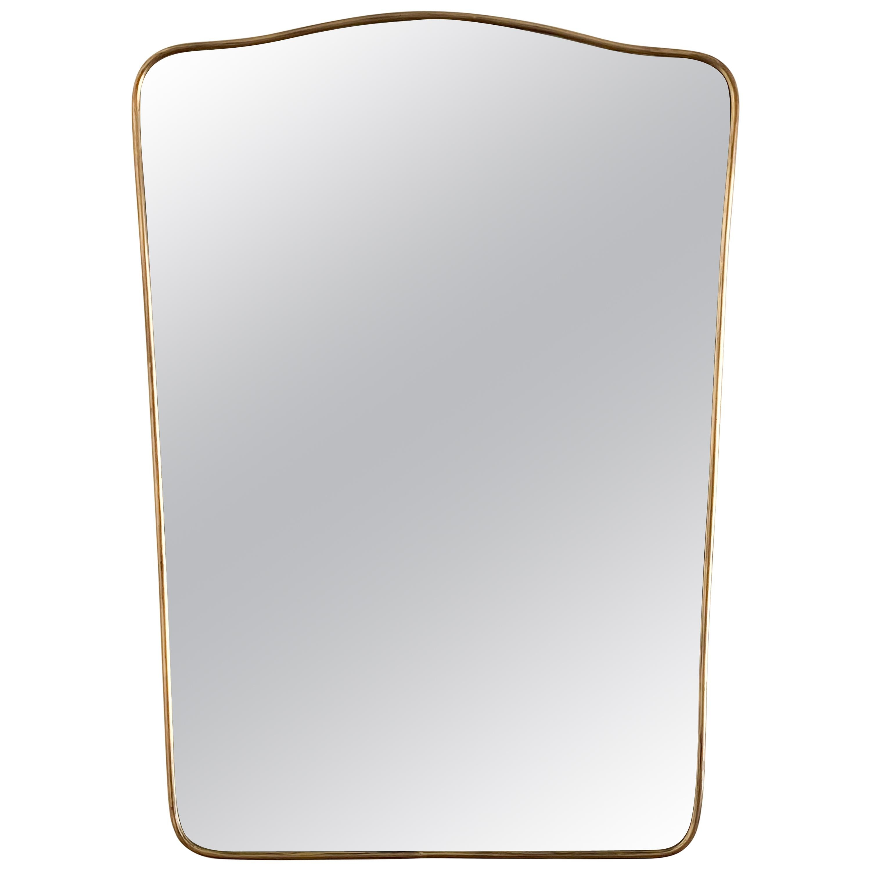 1950s Italian Brass Shield Mirror