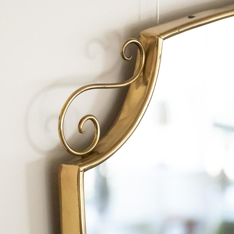 1950s Italian Brass Shield Mirror with Loop Detail For Sale 6
