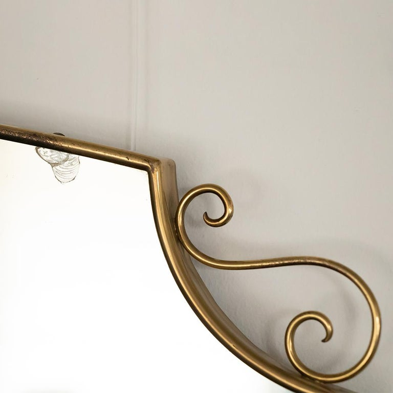 1950s Italian Brass Shield Mirror with Loop Detail For Sale 7