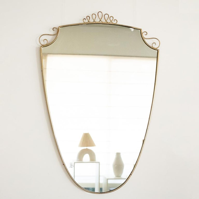 1950s Italian Brass Shield Mirror with Loop Detail For Sale 8
