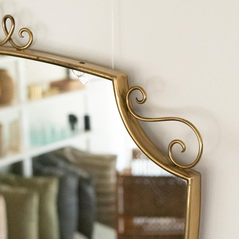 1950s Italian Brass Shield Mirror with Loop Detail For Sale 1