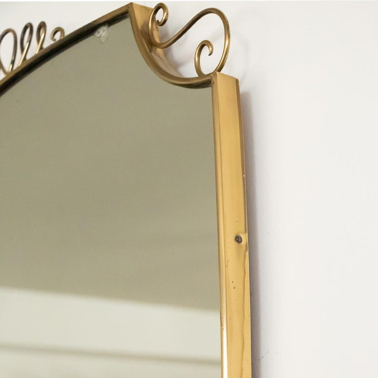 1950s Italian Brass Shield Mirror with Loop Detail For Sale 3