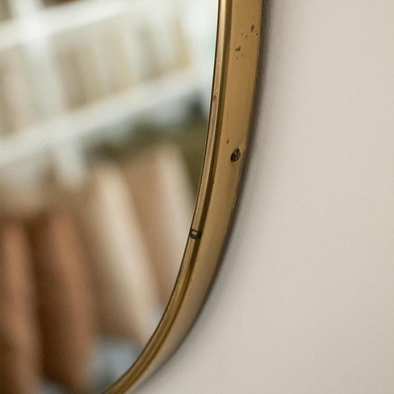 1950s Italian Brass Shield Mirror with Loop Detail For Sale 4