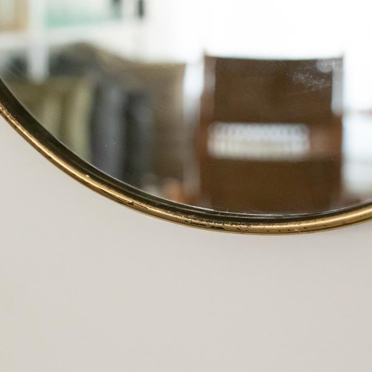 1950s Italian Brass Shield Mirror with Loop Detail For Sale 5
