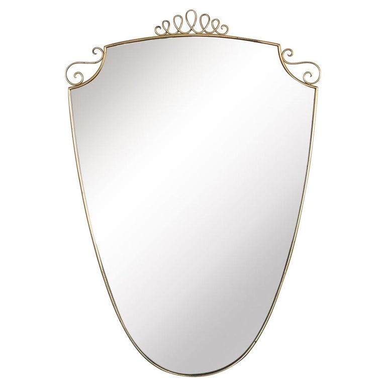 1950s Italian Brass Shield Mirror with Loop Detail For Sale