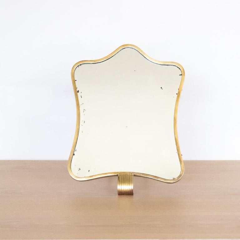 Mid-Century Modern 1950s Italian Brass Vanity Mirror by Barovier & Toso For Sale