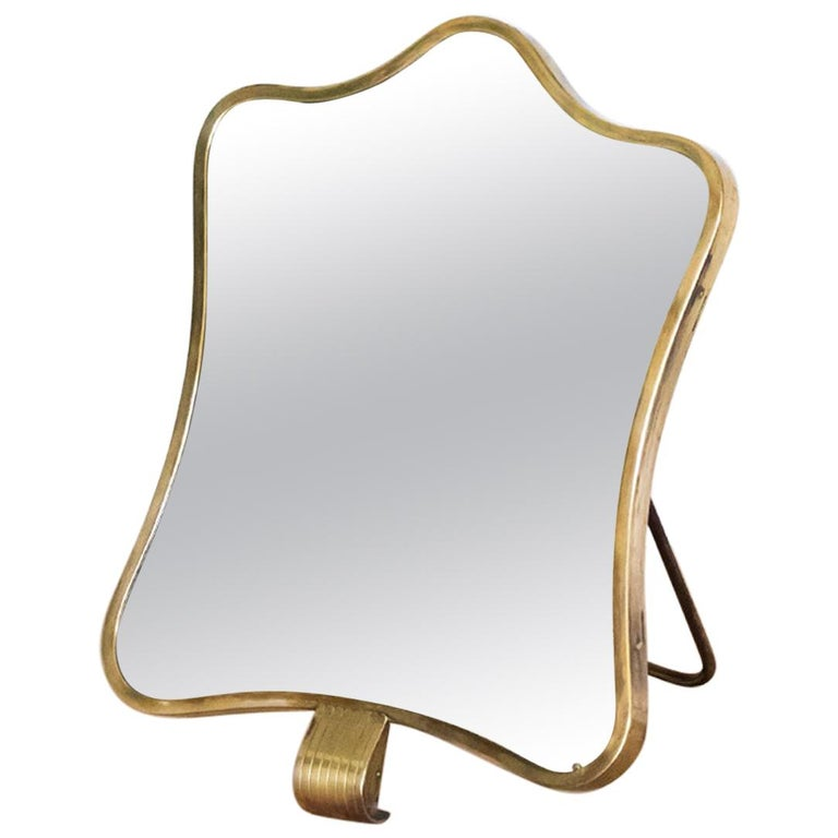 1950s Italian Brass Vanity Mirror by Barovier & Toso For Sale