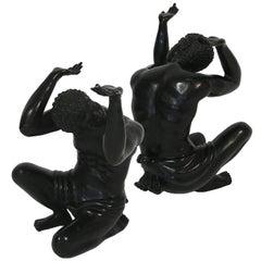 1950s Italian Bronze Blackamoor Table Supports, Pair
