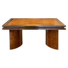 1950s Italian Burl wood Dining Table, Brass Details
