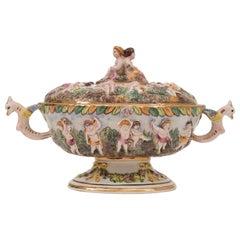 1950s Italian Capodimonte Cherubs Porcelain Serving Tureen