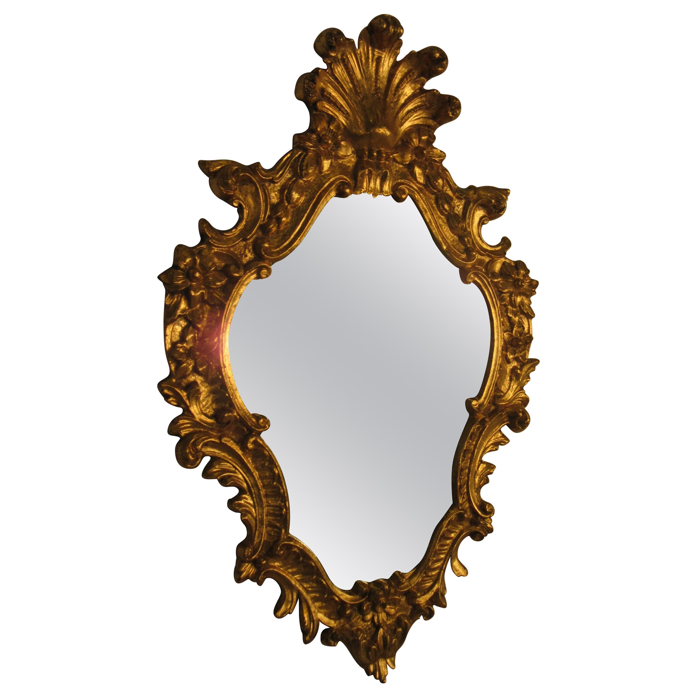 1950s Italian Carved Wood Gilt Mirror