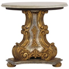 1950s Italian Carved Wood Gold and Silver Painted Marble-Top End Table