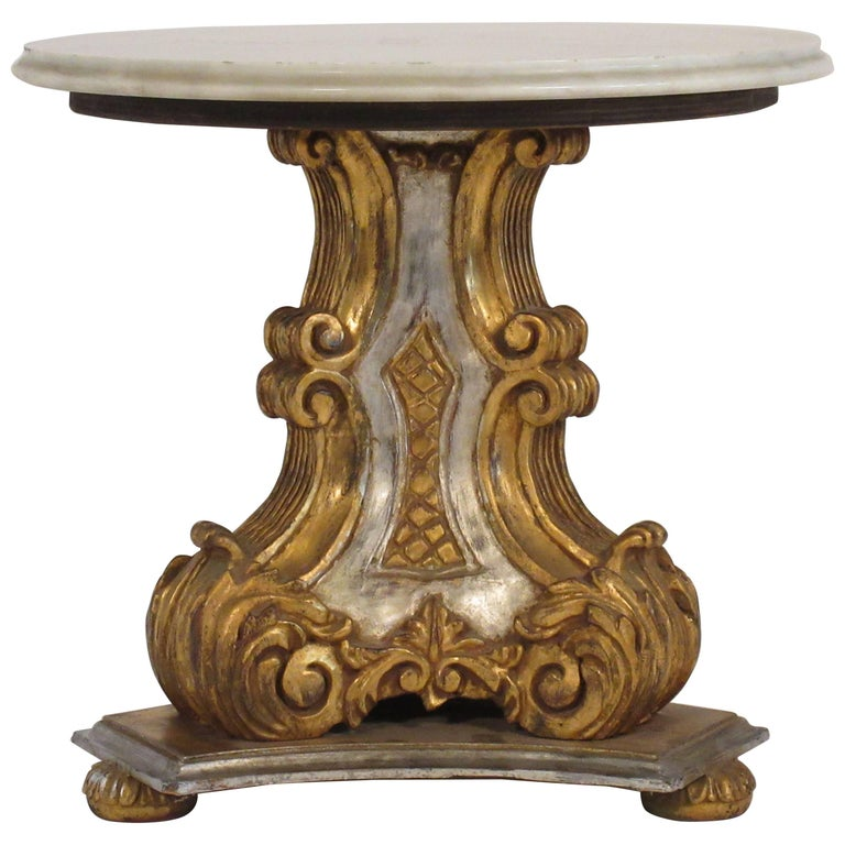 Marble And Carved Wood Accent Table: 1950s Italian Carved Wood Gold And Silver Painted Marble