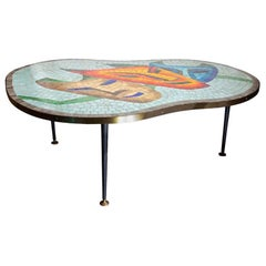 1950s Italian Ceramic Mosaic Top Occasional Table Three Masks Amber Orange Blue