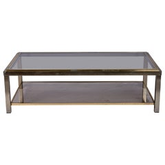 1950s Italian Chrome and Brass Coffee Table by Willy Rizzo