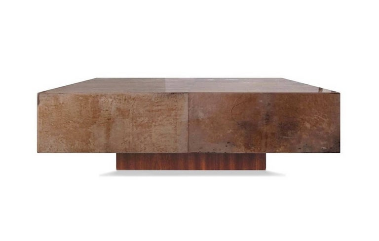 Coffee table in goatskin leather color light tan, in the style of Aldo Tura, Italy 1950.
