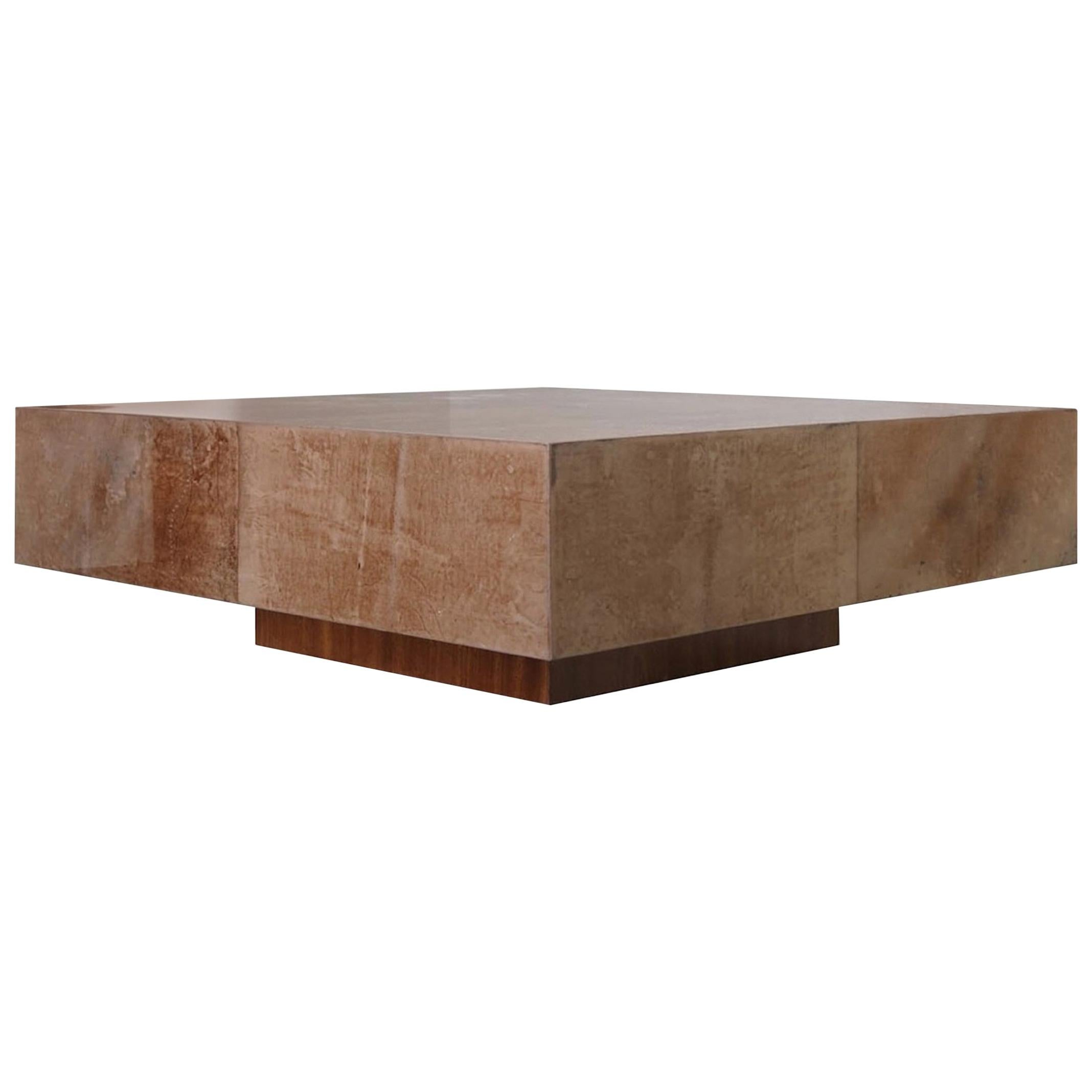 1950s Italian Coffee Table in Parchment Goatskin in the Style of Aldo Tura