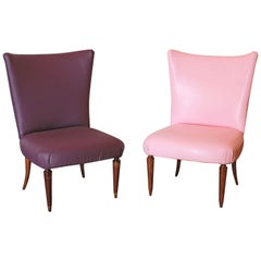 1950s Italian vintage Chairs Restyled with Leatherette