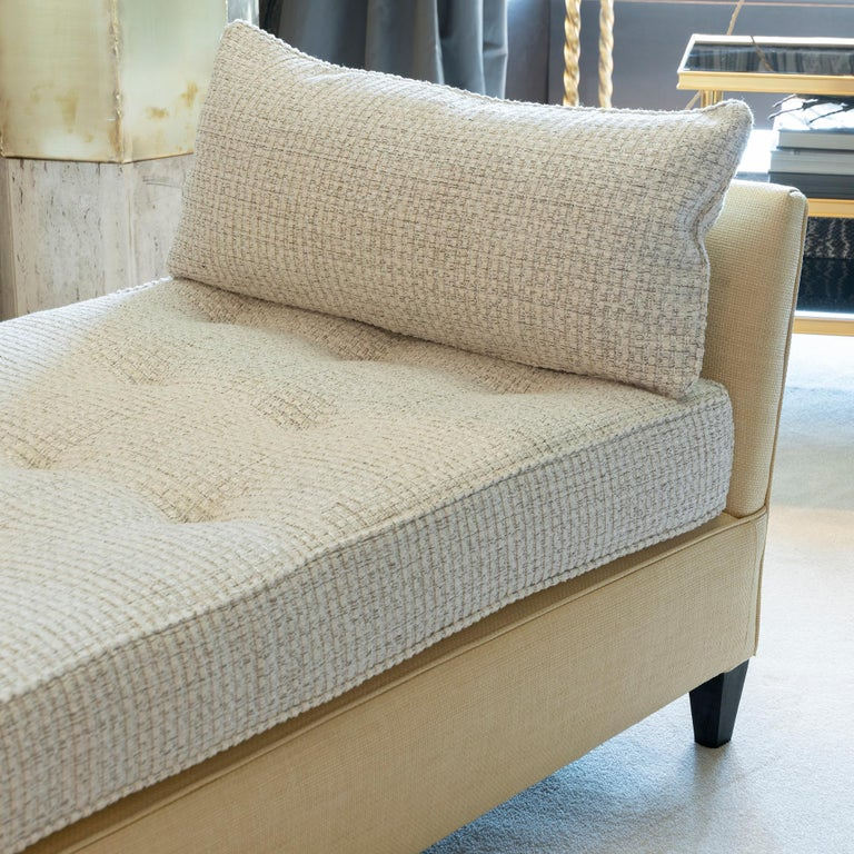 1950s Italian Daybed in Raffia and Chanel Woven Fabric, Wood Details For Sale 5