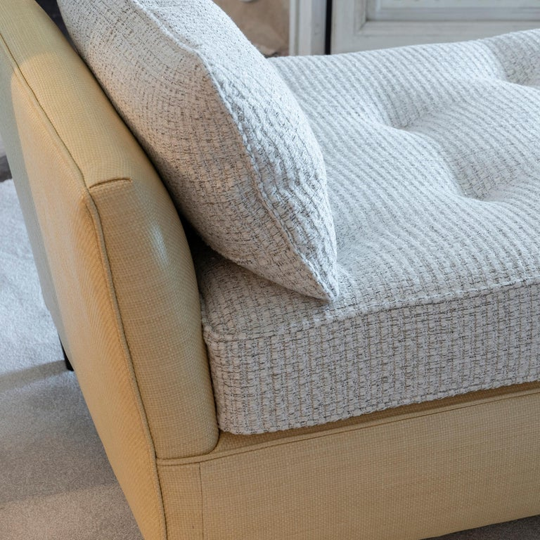 1950s Italian Daybed in Raffia and Chanel Woven Fabric, Wood Details For Sale 7