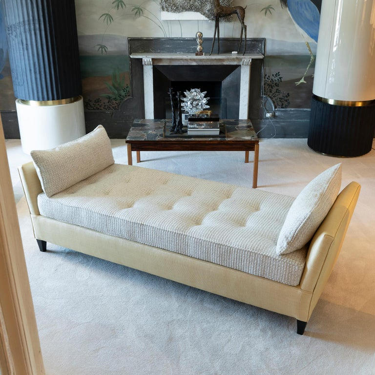 1950s Italian Daybed in Raffia and Chanel Woven Fabric, Wood Details For Sale 3
