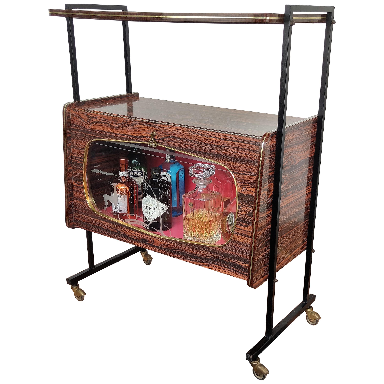 1950s Italian Deco Midcentury Regency Wood & Brass Dry Bar Cabinet Cart