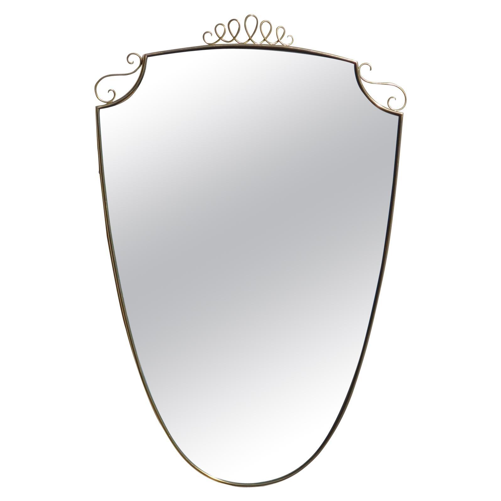 1950s Italian Design Brass Wall Mirror