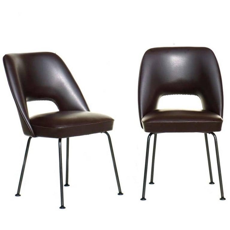 1950s Italian Design Midcentury Brown Pair of Lounge Chairs