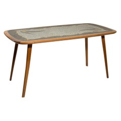 1950s Italian Design Occasional Table Mosaic Top Gray off White Gold Cherry Wood